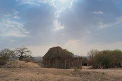 Малая африканская деревня с imbondeiros anisette Стоковое фото RF
