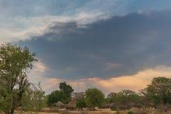 Малая африканская деревня с imbondeiros anisette Стоковая Фотография RF