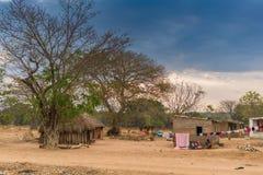 Малая африканская деревня с imbondeiros anisette Стоковое Фото