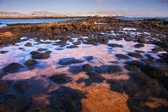 Малая вода на краю El Cotillo, Fuerteventura Стоковое Изображение RF