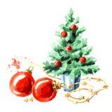 Малая декоративная рождественская елка и красные шарики новый год символа Иллюстрация акварели нарисованная рукой, изолированная  бесплатная иллюстрация