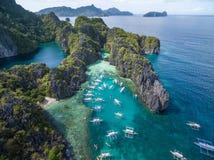 Малая лагуна в El Nido, Palawan, Филиппинах Путешествуйте трасса и установите Стоковое Изображение RF
