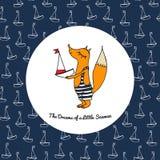 Малая лиса в купальном костюме с шлюпкой Стоковое Изображение