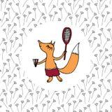 Малая мальчик-лиса в шортах играя бадминтон на поле стоковая фотография