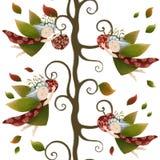 Малая принцесса леса летает с красным яблоком Милый маленький эльф девушка Яблоня и листья картина безшовная бесплатная иллюстрация