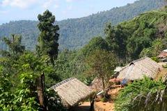 Малая традиционная деревня в лесе, в горах Стоковая Фотография