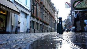Малая улица, на балконах здания чего засаженные красные цветки сток-видео