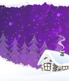 Малая snow-covered дом Стоковое Изображение