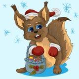 Маленькая белка в шляпе Санта Клауса Стоковые Фото
