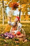 Маленькая девочка бросает букет листьев осени стоковое фото rf