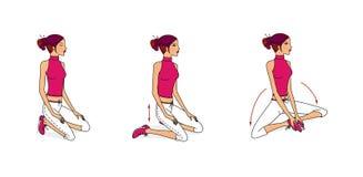 Маленькая девочка выполняет тренировки для протягивать мышцы, превращаясь дышать и гибкости от сидеть, лежать и стоять бесплатная иллюстрация