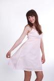 Маленькая девочка в белом платье Стоковые Изображения RF