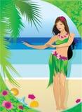 Маленькая девочка в гавайских одеждах вектор иллюстрация штока