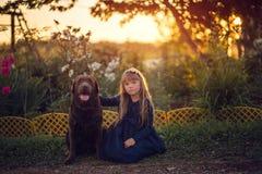 Маленькая девочка в голубом платье сидя с собакой на заходе солнца стоковое изображение