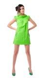 Маленькая девочка в зеленом платье Стоковое Изображение