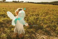 Маленькая девочка в костюме бабочки с крыльями в поле стоковое фото