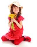 Маленькая девочка в красном платье Стоковая Фотография