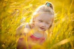 Маленькая девочка в лужке стоковое фото rf