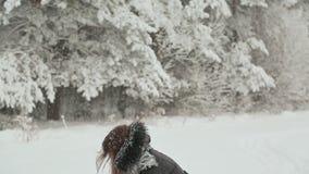 Маленькая девочка в одеждах зимы с длинными волосами наслаждается прогулкой вдоль покрытого снег леса под падая снегом сток-видео