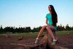 Маленькая девочка в платье бирюзы сидя на пне на береге стоковое изображение rf