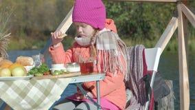 Маленькая девочка в теплых одеждах, ел блинчики, выпивая чай, собака играя рядом, пикник рекой на деревянном сток-видео