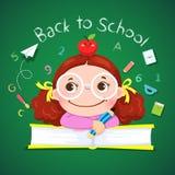 Маленькая девочка держа карандаш для назад к школе иллюстрация вектора