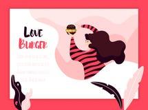 Маленькая девочка ест черный бургер на предпосылке цвета с заводами и рамкой Знамя фаст-фуда вектора бесплатная иллюстрация