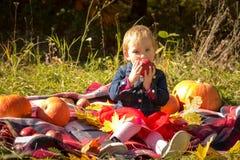 Маленькая девочка ест яблоко взволнованности стоковые изображения rf