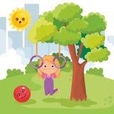 Маленькая девочка играя на парке иллюстрация вектора