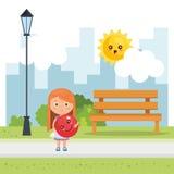 Маленькая девочка играя на парке бесплатная иллюстрация