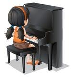 Маленькая девочка играя с роялем иллюстрация вектора