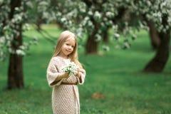 Маленькая девочка идет в сад яблока Стоковые Изображения