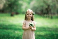 Маленькая девочка идет в сад яблока Стоковая Фотография RF