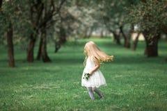 Маленькая девочка идет в сад яблока Стоковые Фото