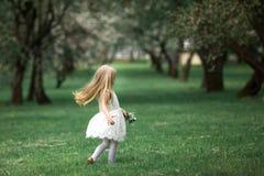 Маленькая девочка идет в сад яблока Стоковая Фотография