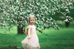 Маленькая девочка идет в сад яблока Стоковое фото RF