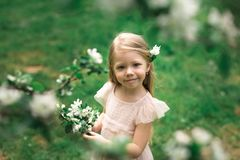Маленькая девочка идет в сад яблока Стоковое Изображение RF