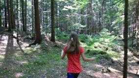 Маленькая девочка идет через лес на солнечный день акции видеоматериалы