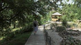 Маленькая девочка идя в тропический ботанический сад Batumi, Georgia сток-видео