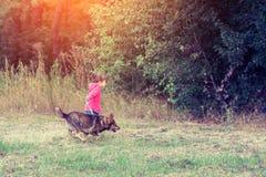 Маленькая девочка идя с собакой около леса стоковые фото
