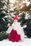 Маленькая девочка имея потеху в лесе зимы Стоковое Фото