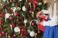 Маленькая девочка носит дерево Девушка в официально Процесс подготовки для торжества Нового Года и рождества стоковое изображение