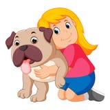 Маленькая девочка обнимает собаку иллюстрация вектора