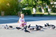 Маленькая девочка подает голуби Стоковые Изображения RF