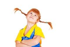 Маленькая девочка при пересеченные рукоятки стоковые фото