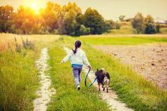 Маленькая девочка при собака идя на сельскую дорогу стоковое фото rf