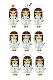 Маленькая девочка работы сестры медицины с 9 эмоциями бесплатная иллюстрация