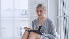 Маленькая девочка сидит на windowsill и читает книгу видеоматериал