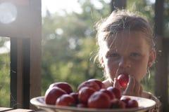 Маленькая девочка сидя на крылечке в лете Томаты на плите Мечтательное и романтичное изображение Лето и счастливая концепция детс стоковые фотографии rf