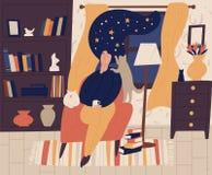 Маленькая девочка с закрытыми глазами и небом ночи звездным или космос вместо волос сидя в стуле и мечтая или daydreaming бесплатная иллюстрация